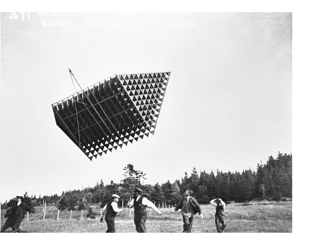 <b><i>Image:</i></b> Image of the 1906 flight of Alexander Graham Bell's experimental kite, The Cygnet © New British Art