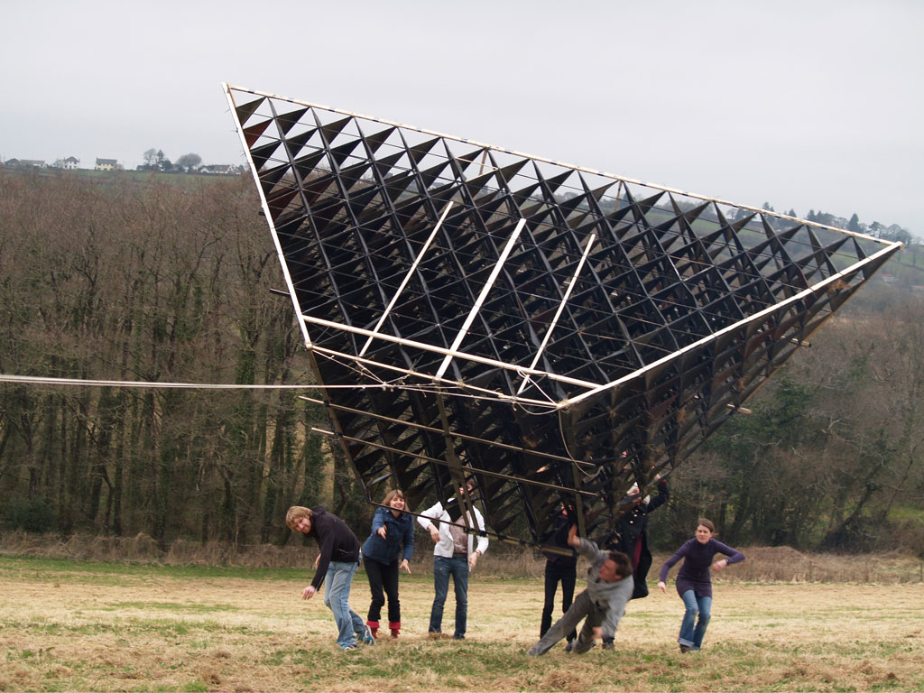 <b><i>Image:</i></b> Attempt to fly <i>Blue Bell Hangar</i>, an experimental sculpture by New British Art at their base in Carmarthenshire, 2012 © New British Art