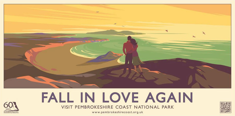 <b><i>Image:</b></i>  <i>Fall in Love Again</i> Poster for 60th anniversary of the Pembrokeshire Coast National Park, 2012 © Pembrokeshire Coast National Park Authority.