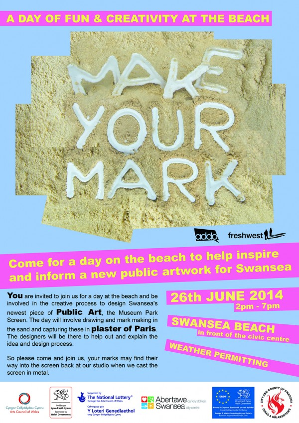 <i><b>Image:</b> Poster for sand casting workshops held on Swansea beach by Freshwest towards the design of the Museum Park Gates, Freshwest, 2014. </i>
