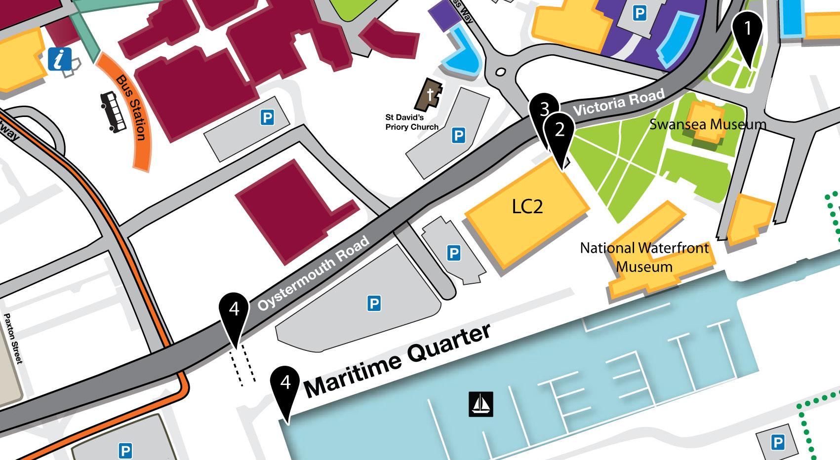 <i><b>Image:</b> Plan showing locations of artworks along Swansea Boulevard. </i>