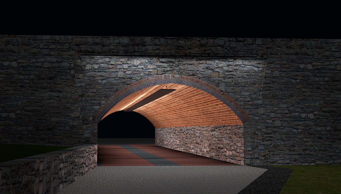 <i><b>Image:</b> Light and Sound Intervention for Paxton Street Pedestrian Tunnel, William Dennisuk, 2014. </i>