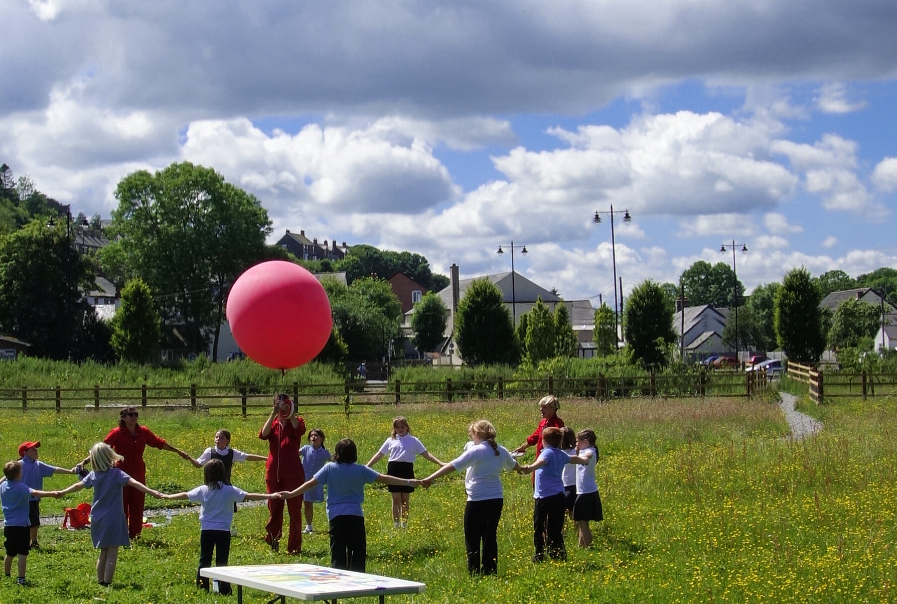 <i><b>Image:</b> School Balloon Workshop led by Camp Little Hope, 2014. </i>