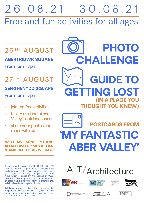 <i><b>Llun | Image:</b> Digwyddiad Gwib Fy Nghwm Aber Bendigedig yng Nghwm Aber | My Fantastic Aber Valley Pop-up in the Aber Valley, ALT-Architecture, 2021. </i>